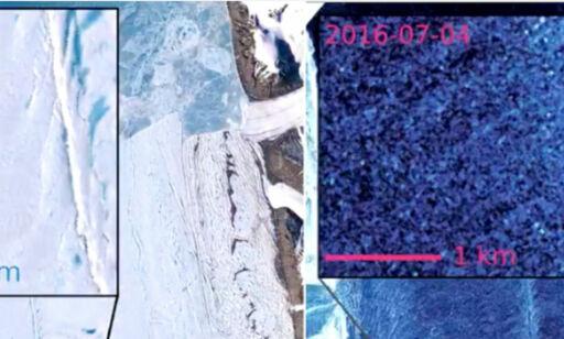 Urovekkende gigantsprekk oppdaget i en av Grønlands største isbreer